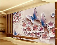beibehang papel de parede photo wallpaper for walls 3 d Relief murals TV backdrop romantic butterfly orchid flowers mural
