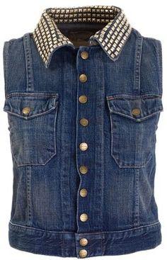 ShopStyle: Current/Elliott Stud collar denim gilet