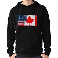 46f6b67d3377 Canadian American Half Canada Half America Flag Hoodie (Pullover) Classic T  Shirts