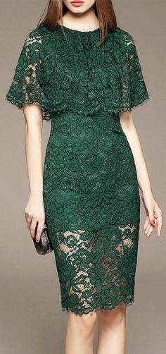Cut Out Lace Capelet Dress