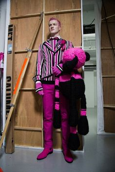 Pink stripes and a giant teddy bear backstage at Sibling AW15 LCM. See more here: http://www.dazeddigital.com/fashion/article/23147/1/sibling-aw15