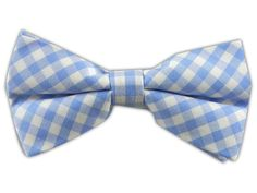New Gingham - Sky Blue (Cotton Bow Ties)