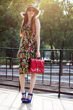 Colorful Outfit - Retro Sonja Fashion Blog - @SIXaccessories hat, @topvintage dres, @Primark shoes - www.retrosonja.com