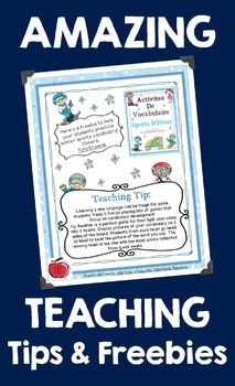 FRENCH TIPS AND FREEBIES E-BOOK: WINTER 2014: RESSOURCES GRATUITES EN FRANçAIS - TeachersPayTeachers.com