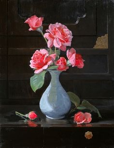 Roses on a Chinese cabinet by Sandra Corpora Oil ~ 18 x 14