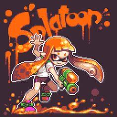 【ドット絵】Splatoon/もやししゃも #pixelart