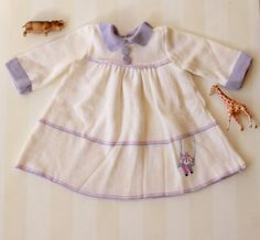 Vintage Baby Girl Dress in White Knit 3-6 months, Little Girl's Vintage Dress with a French Clown and a Lavender Collar, Baby Winter Dress