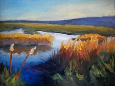 Marsh Landscape Painting, Daily Painting, Small Oil Painting, North Florida Marsh by Carol Schiff,