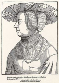 Title: Porträt der Anna von Böhmen und Ungarn              Tags: Hat, Neckchain, Hairnet, Smock, Princess              Date: 1528                        Artist: Erhard Schoen              Provenance: Germany              Collection: Germanisches Nationalmuseum