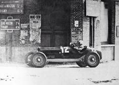 """Amazing Reims background as Nuvolari blasts his Scuderia Ferrari Alfa Tipo B/P3 to French GP victory on 14 July 1932″"