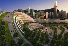 Telhados verdes que estão mudando a arquitetura: terminal ferroviário Kowloon