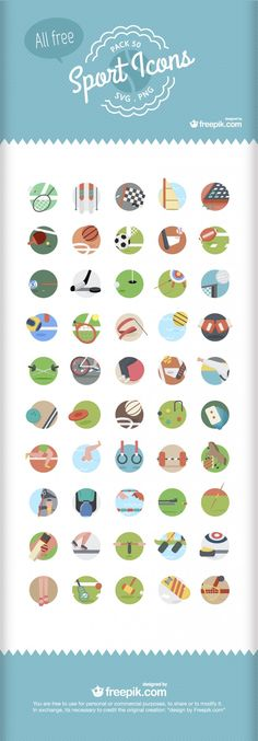 Here's a great looking icon pack that you can download for free. Inside, you'll find 50 unique sports-related icons. All available in .SVG (vectors) and .PNG formats.