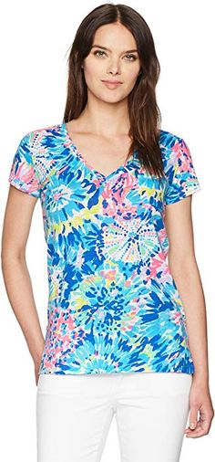 9067a8c61a75a2 Lilly Pulitzer Women's Meredith Short Sleeve Tee Dive in, Multi Dive in, L  at