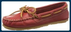 Minnetonka Smooth Leather Moc 616, Damen Mokkassins, Rot (Red), EU 40 (US 9) - Slipper und mokassins für frauen (*Partner-Link)