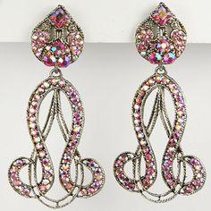 Thelma Deutsch Pink Aurora Borealis Oriental Scrolls Pendant Clip Earrings
