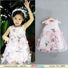 Designer Summer Dress for Baby Girl - Blue Net Wedding Dress for ...