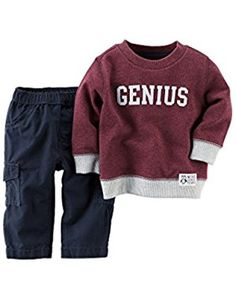 8a3e3794e Baby Boys' Genius Sweatshirt and Pants - 12 Months Carters Baby Boys, Baby  Quotes