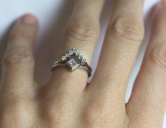 Modern diamond wedding set. 18k solid gold. Elegant and sparkly diamond set…