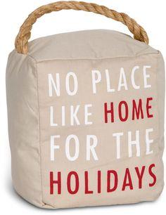 Open Door Decor - No Place Like Home for the Holidays Tan Christmas Decorative Door Stopper Shelf Decor
