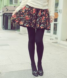 floral with black tights