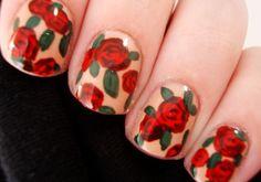 Red rose nail art tutorial.