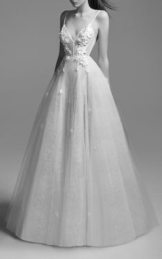 This Alex Perry Bridal Anna Lace Floral Embellished Gown features an A-Line silhouette with a low v neckline, fitted bodice, floral applique and gathered skirt. Best Wedding Dresses, Designer Wedding Dresses, Bridal Dresses, Wedding Gowns, Prom Dresses, Lace Wedding, Wedding Venues, Alex Perry, Shrug For Dresses