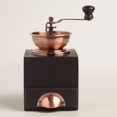 One of my favorite discoveries at WorldMarket.com: Copper Vintage Style Burr Coffee Grinder