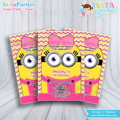 Minions invitations girl minion birthday party Printable digital File girly pink bow 4x6 invites pink bow