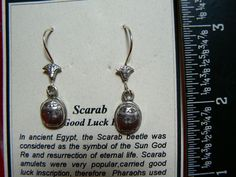 #10 SOLID STERLING SILVER - NEW - EARRING SET SCARAB - THE GOOD LUCK BEETLE $75 ship worldwide free