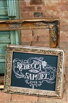 chalkboard wedding sign in vintage frames, photo by White Rabbit Studios http://ruffledblog.com/verdant-alabama-wedding #weddingideas #weddingsigns