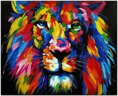 African Lion  Signed Original Hand Painted by FolkcultureGallery