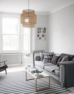 Light Grey Wall my living room makeover – painted white floors and light grey