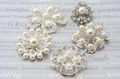 5 Pcs. Bridal  Pearl Rhinestone Flower Brooch Pin Silver plated Embellishment  Broach DIY Wedding Bridal Bouquet Sash. $14.75, via Etsy.