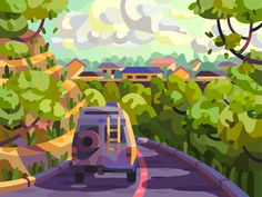 Quiet road by Igor Ianchenko on Dribbble Landscape Illustration, Flat Illustration, Graphic Art, Graphic Design, The Good Place, Street Art, Fair Grounds, Artist, Painting