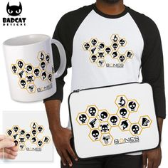 This design for the Bones TV series features several golden hexagons with white skulls, a white microscope, a white gun, a white dolphin, and a white notepad with pencil. #Bones #TShirt #Tee #Sticker #LaptopSleeve