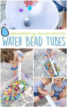 Need ideas for water bead activities? Check out these 10 sensory play ideas. Perfect activities for summer tot school, preschool, or kindergarten sensory bins! Baby Sensory Play, Sensory Tubs, Sensory Boxes, Sensory Activities, Infant Activities, Summer Activities, Camping Activities, Motor Activities, Kindergarten Sensory