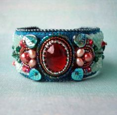Bead Embroidered Cuff Bead Embroidered Bracelet by by CircesHouse, $150.00