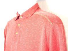 Tommy Bahama Mens Salmon Fencel Polyester Polo Short Sleeve Shirt Size M EUC #TommyBahama #PoloRugby
