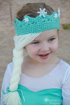 Elsa Frozen Disney Movie Tiara Crown crochet hat on etsy www.OliCrafts.Etsy.com