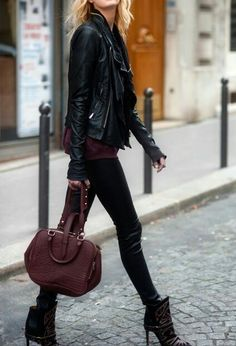 Leather jacket with skinny jeans - street fashion