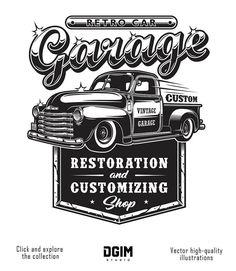 Retro car repair garage sign with retro style truck. Car Repair Garages, Garage Repair, Carros Retro, Motos Retro, Garage Logo, Restoration Shop, Car Repair Service, Service Car, Logo Vintage
