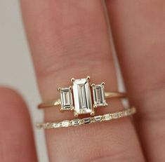 This emerald cut treated emerald engagement ring white gold Floral diamond wedding ring set,promise ring,reco ring,handmade is just one of the custom, handmade pieces you'll find in our engagement rings shops. Morganite Engagement, Engagement Ring Settings, Engagement Rings, Baguette Engagement Ring, Stacked Wedding Rings, Baguette Diamond Rings, Baguette Ring, Wedding Ring Designs, Mode Inspiration