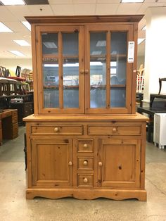 Knotty Pine China Hutch Makeover - Saw Nail and Paint
