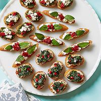 Tricolor Trio - Rachel Ray - Pesto, Red Pepper and Feta Crostini; Ricotta, Pomegranate and Mint Crostini; Kale, White Bean, and Chile Crostini - love the red, white, and green