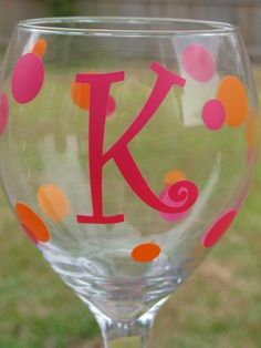Initial Monogrammed Wine Glass with Polka Dots - Bridesmaid Gift - Girls Weekend Simple and Sassy Gifts