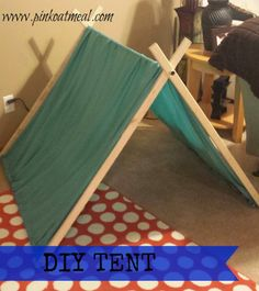 DIY Tent Super EASY! This would be great for a reading area or play area for the kiddos. Who didn't love a tent when they were little?