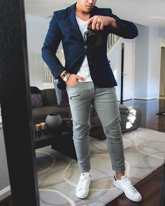 #Fridaynight outfit idea ✨ #blue blazer, biker jeans and white sneakers ✨ Hope you have a great weekend [ visit http://www.RoyalFashionist.com ] #mdajewelry  #menwithstreetstyle #royalfashionist