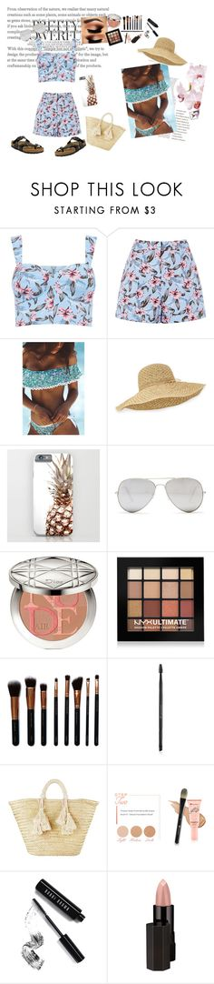 """""""Summer rays"""" by morgan2017 ❤ liked on Polyvore featuring Helen Kaminski, Sunny Rebel, Christian Dior, NYX, M.O.T.D Cosmetics, Charlotte Russe, Giselle, BHCosmetics, Bobbi Brown Cosmetics and Serge Lutens"""