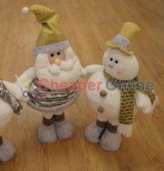 65cm Extending Leg Snowman or Santa Plush Christmas Decoration in White #Festive