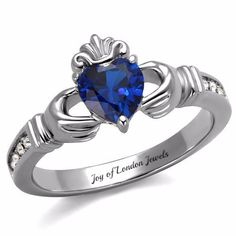 A Traditional Celtic 2CT Heart Cut Blue Sapphire & Russian Lab Diamond Accent Promise Wedding Ring